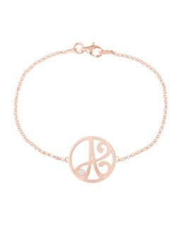 Mini Single Initial Diamond Bracelet, Rose Gold   K Kane   K