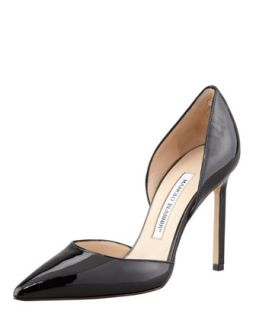 Tayler Patent Pointed dOrsay Pump, Black   Manolo Blahnik   Black (39.0B/9.0B)