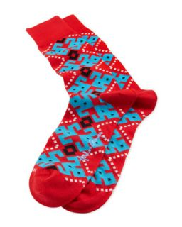 Aztec Argyle Mens Socks, Red   Arthur George by Robert Kardashian   Red