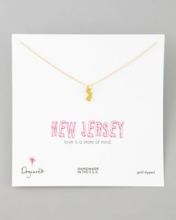 Gold New Jersey State Charm Necklace   Dogeared   Gold