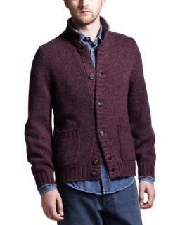 Mens Chine Buttoned Cashmere Cardigan   Brunello Cucinelli   Wine (52)