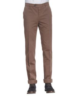 Mens Cotton Flat Front Pants, Tobacco   Brunello Cucinelli   Tabacco (50)