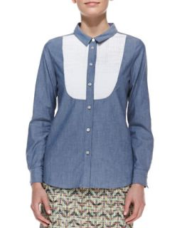 Womens long sleeve button down bib shirt, blue/white   kate spade new york
