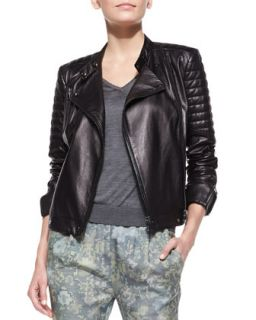 Womens Crista Leather Moto Jacket   J Brand Ready to Wear   Black (X SMALL)