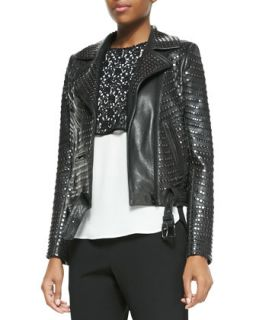 Womens Night Studded Leather Moto Jacket   A.L.C.   Black (10)