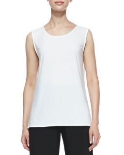Stretch Knit Long Tank, White, Womens   Caroline Rose   White (1X (16/18))
