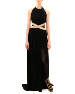 Womens Beaded Waist Sleeveless Jersey Gown   Balmain   Black gold (44/10)