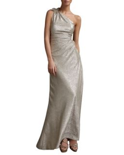 Womens One Shoulder Metallic Print Gown   David Meister   Silver nude (4)