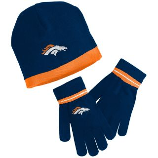 NFL Team Apparel Youth Denver Broncos Knit Hat And Glove Set   Size Youth, Navy