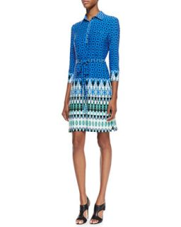 Womens Belted Printed Jersey Dress, Multicolor   Ali Ro   Blue/Sprmint mult (2)