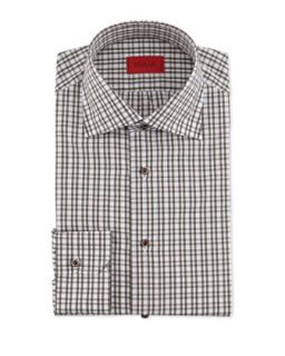 Mens Check Cotton Shirt, Olive/Brown   Isaia   (17 1/2)