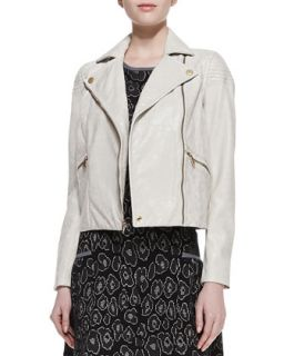 Womens Avery Crackled Cropped Leather Jacket   MARC by Marc Jacobs   Oatmeal