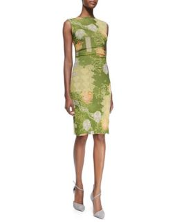 Womens Sleeveless Floral Print Ruched Dress   Kay Unger New York   Grnmlt