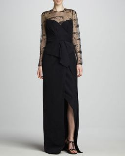 Womens Ottoman & Lace Gown   J. Mendel   Midnight (6)