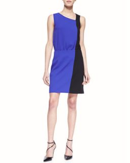 Womens Sleeveless Colorblock Crepe Dress   4.collective   Purple (12)