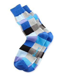 Blocks Mens Socks, Blue   Arthur George by Robert Kardashian   Blue