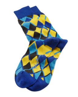 Linked Diamonds Mens Socks, Blue/Yellow   Arthur George by Robert Kardashian
