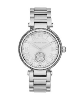 Mid Size Silver Color Skylar Two Hand Glitz Watch   Michael Kors   Gray
