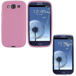Skque pink Silicone Skin Soft Case + Anti Scratch Screen Protector for Samsung Galaxy S3 I9300 Cell Phones & Accessories