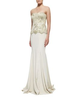 Womens Strapless Brocade Bodice Gown   Badgley Mischka Collection   Ivory/Gold