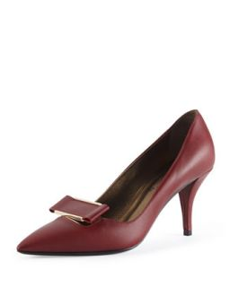 Leather Point Toe Buckle Pump, Burgundy   Lanvin   Burgundy (40.5B/10.5B)