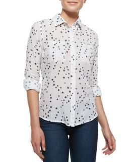 Womens Madison Star Print Blouse, White   Rails   White ptrn (LARGE)