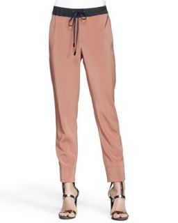 Womens Drawstring Stretch Silk Pants   Brunello Cucinelli   Coral (38/2)
