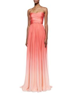 Womens Strapless Ombre Draped Gown, Coral   Monique Lhuillier   Coral (12)