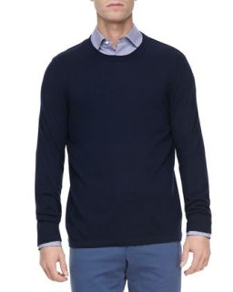 Mens Cashmere Crewneck Pullover Sweater, Navy   Vince   Navy (SMALL)