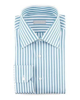 Mens Awning Stripe Dress Shirt, Teal   Stefano Ricci   Aqua (16 1/2)