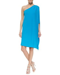 Womens One Shoulder Tissue Matte Jersey Dress, Pool   Michael Kors   Pool (10)