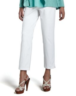 Slim Twill Ankle Pants, White, Womens   Eileen Fisher   White (3X (22/24W))