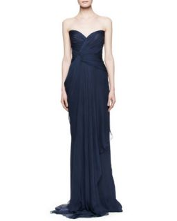 Womens Strapless Silk Gown with Pleated Bodice, Bleu Roi   J. Mendel   Bleu