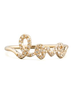 14k Yellow Gold Diamond Love Script Ring   Sydney Evan   Gold (6.5)