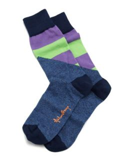 Halved Large Stripe Mens Socks, Navy   Arthur George by Robert Kardashian
