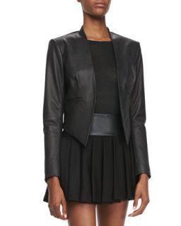 Womens Mabel Cropped Leather Jacket   Alice + Olivia   Black (8)