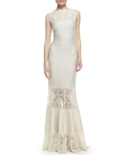 Womens Sleeveless Ribbed Knit and Lace Gown, Cream   Tadashi Shoji   Cream (X