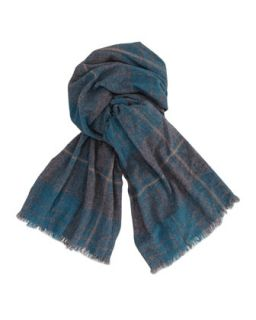 Plaid Cashmere Mens Scarf, Green   Brunello Cucinelli   Green