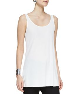 Long Silk Scoop Neck Tunic Tank, Womens   Eileen Fisher   Soft white (3X