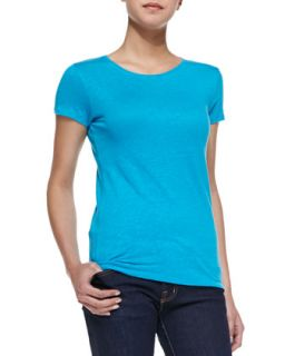 Womens Stretch Linen Short Sleeve Tee   Majestic Paris for