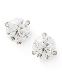 18k White Gold Diamond Stud Earrings, 0.76ctw G H/SI1   NM Diamond   White (18k