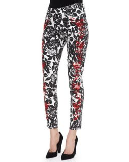 Womens Wisdom Skinny Ankle Jeans, Black/Red   CJ by Cookie Johnson   Black/Red