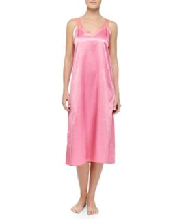 Womens Cassis Long Satin Gown, Pink/Coral   Louis at Home   Hot pink/C (XS)