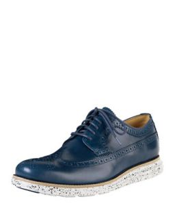 Mens Lunargrand Long Wing Tip Oxford with Speckled Contrast, Navy   Cole Haan