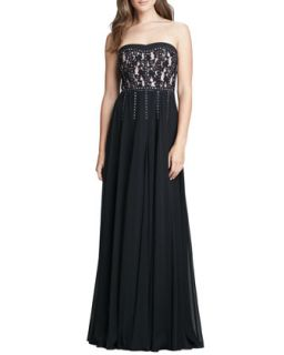 Womens Strapless Lace Studded Gown   Rebecca Taylor   Black (12)
