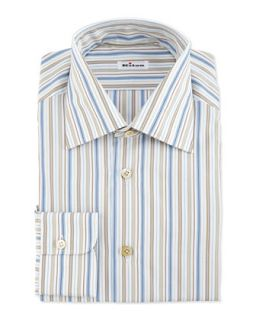 Mens Multi Stripe Dress Shirt, Blue/Brown   Kiton   Blue (17)