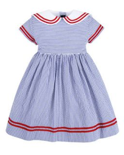 Seersucker Sailor Dress, Navy, 12 24 Months   Oscar de la Renta   Navy (12M)
