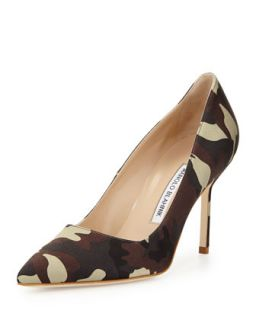 BB Satin 90mm Pump, Camo (Made to Order)   Manolo Blahnik   Camo (41.0B/11.0B)