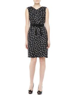 Womens Sleeveless Silk Polka Dot Dress, Black   Paule Ka   Black (8)