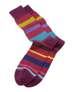 Rainbow Striped Mens Socks, Red   Paul Smith   Red